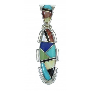 Authentic Sterling Silver Multicolor Southwestern Pendant YX67462