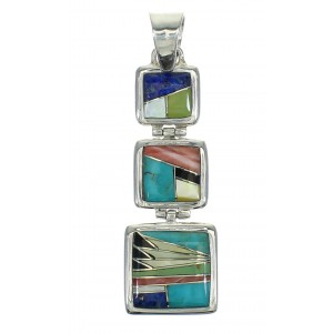 Multicolor Inlay And Sterling Silver Southwestern Pendant YX67485