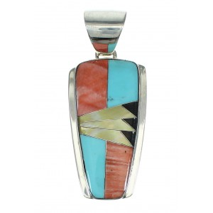 Sterling Silver And Multicolor Inlay Southwest Slide Pendant YX67503