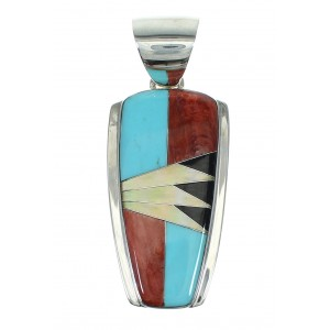 Sterling Silver And Multicolor Inlay Southwestern Slide Pendant YX67504