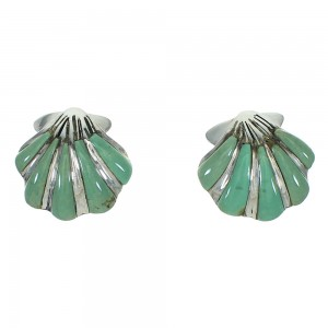 Silver Turquoise Inlay Southwest Seashell Post Earrings AX71494