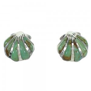 Turquoise Southwestern Seashell Silver Post Earrings AX71498