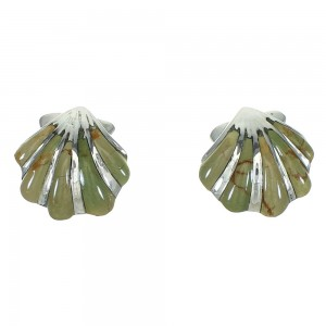 Turquoise Inlay Seashell Silver Jewelry Post Earrings AX71504