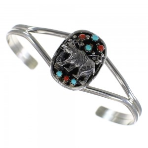 Turquoise Coral Bear Genuine Sterling Silver Cuff Bracelet RX70327