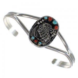 Genuine Sterling Silver Turquoise And Coral Eagle Cuff Bracelet RX70336