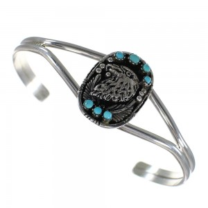 Southwest Turquoise Sterling Silver Eagle Cuff Bracelet YX70061