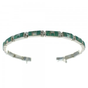 Turquoise And Opal Inlay Sterling Silver Southwestern Link Bracelet WX70197