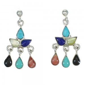 Silver Multicolor Southwest Post Dangle Earrings YX71487