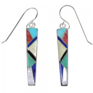 Genuine Sterling Silver Southwest Multicolor Inlay Hook Dangle Earrings RX81775
