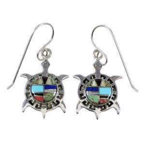 Authentic Sterling Silver Multicolor Turtle Hook Dangle Earrings RX81805