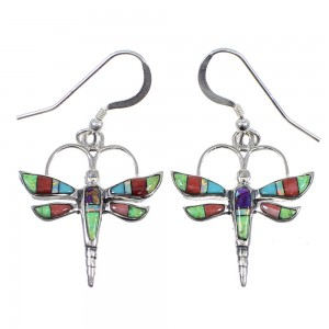 Genuine Sterling Silver Multicolor Dragonfly Hook Dangle Earrings RX81815