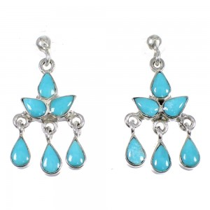 Silver And Turquoise Southwest Post Dangle Earrings YX79803