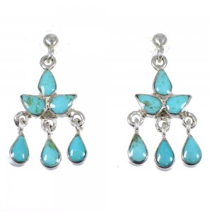 Sterling Silver And Turquoise Southwest Post Dangle Earrings YX79812
