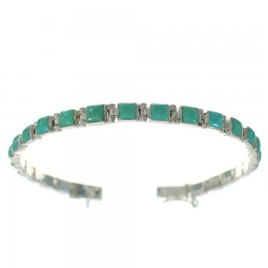 Southwest Authentic Sterling Silver Turquoise Link Bracelet RX68549