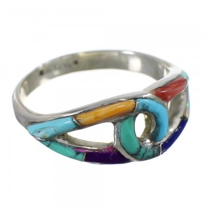Multicolor Sterling Silver Southwestern Ring Size 7-1/2 WX82402