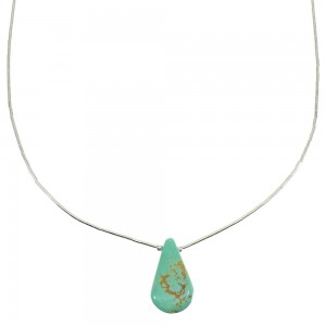 Liquid Genuine Sterling Silver Kingman Turquoise Tear Drop Necklace WX77732