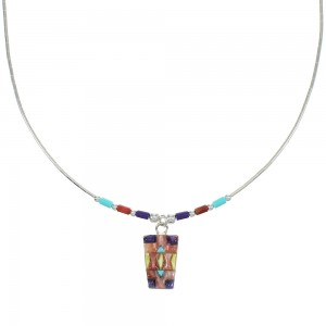 Multicolor Inlay And Liquid Sterling Silver Necklace WX77760