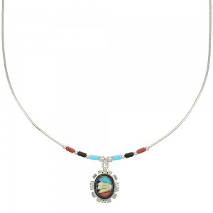Liquid Sterling Silver And Multicolor Inlay Necklace WX77785