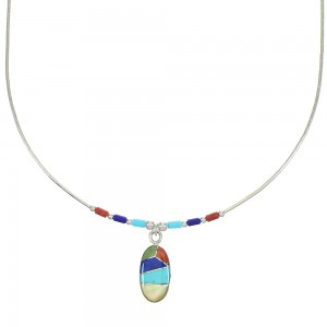 Multicolor Inlay And Genuine Liquid Sterling Silver Necklace WX77795