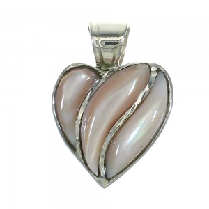 Genuine Sterling Silver Pink Shell Heart Southwest Pendant RX66908