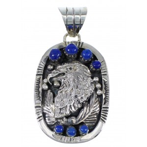 Lapis And Genuine Sterling Silver Southwest Eagle Pendant YX67265