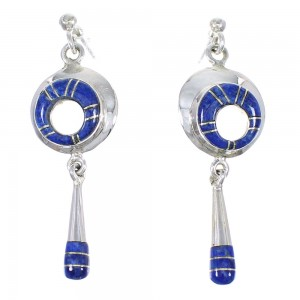Southwest Sterling Silver And Lapis Inlay Post Dangle Earrings RX70955