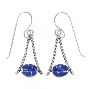 Lapis Genuine Sterling Silver Southwestern Hook Dangle Earrings RX71091