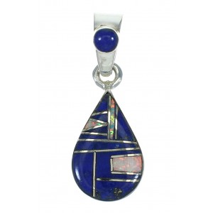 Sterling Silver Opal And Lapis Southwest Tear Drop Pendant YX70392