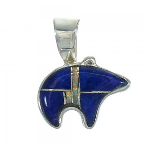 Sterling Silver Opal And Lapis Southwest Bear Pendant YX70393