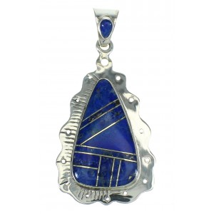 Genuine Sterling Silver And Lapis Southwestern Slide Pendant YX67396