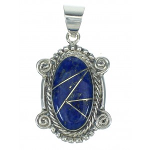 Sterling Silver And Lapis Inlay Southwestern Pendant YX67400