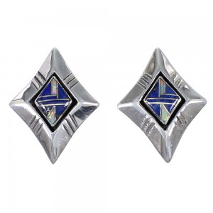 Sterling Silver Opal And Lapis Southwest Post Earrings YX67526