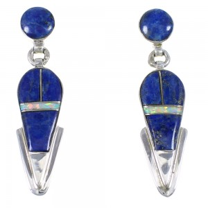 Genuine Sterling Silver Opal And Lapis Post Dangle Earrings YX67543