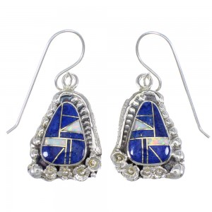 Authentic Sterling Silver Lapis And Opal Flower Hook Dangle Earrings YX67587