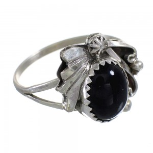 Navajo Indian Sterling Silver And Onyx Ring Size 8-1/4 RX100626