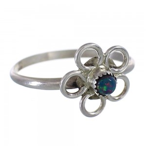 Black Opal Navajo Sterling Silver Flower Ring Size 6-3/4 AX100652