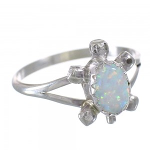 Genuine Sterling Silver Opal Navajo Turtle Ring Size 4 AX100666