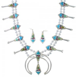 Multicolor Inlay Genuine Sterling Silver Squash Blossom Necklace Set RX94133