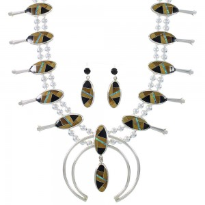 Sterling Silver Multicolor Inlay Southwest Squash Blossom Necklace Set RX94135