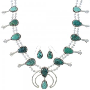 Navajo Indian Turquoise Authentic Sterling Silver Squash Blossom Necklace Set RX94137