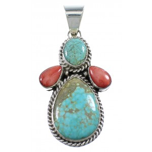 Genuine Sterling Silver Navajo #8 Turquoise And Red Oyster Shell Pendant AX94164