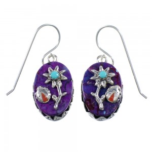 Multicolor Silver Flower And Ladybug Hook Dangle Earrings AX94189