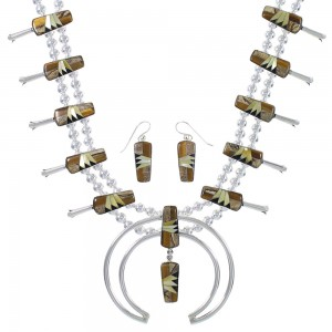 Sterling Silver Multicolor Inlay Squash Blossom Southwestern Necklace Set RX94250