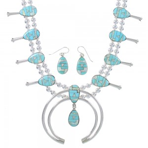 Turquoise And Opal Sterling Silver Squash Blossom Southwest Necklace Set RX94260