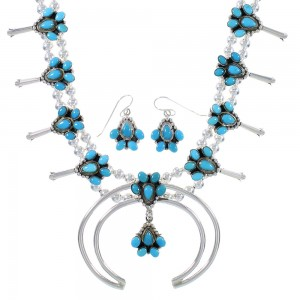 Genuine Sterling Silver Turquoise Squash Blossom Necklace Set RX94263