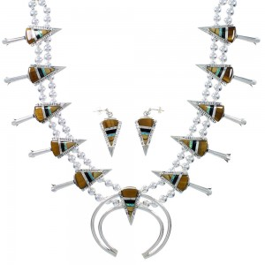 Multicolor Inlay Arrowhead And Water Wave Silver Squash Blossom Necklace Set AX94363