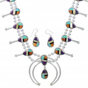 Multicolor Authentic Sterling Silver Squash Blossom Necklace Set AX94366