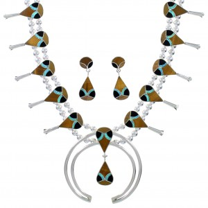 Multicolor Inlay Silver Southwest Squash Blossom Necklace Set AX94370