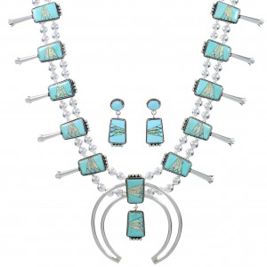 Southwest Turquoise And Opal Inlay Sterling Silver Squash Blossom Necklace Set AX94371