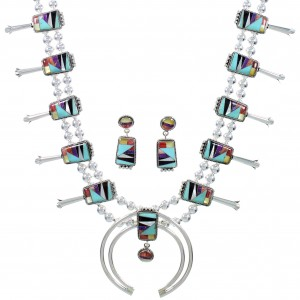 Multicolor Inlay Sterling Silver Squash Blossom Necklace Set AX94372